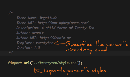 Stylesheet of a Child Theme