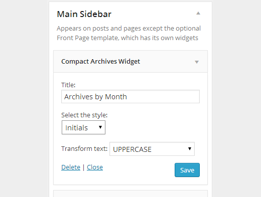 Compact archives widget