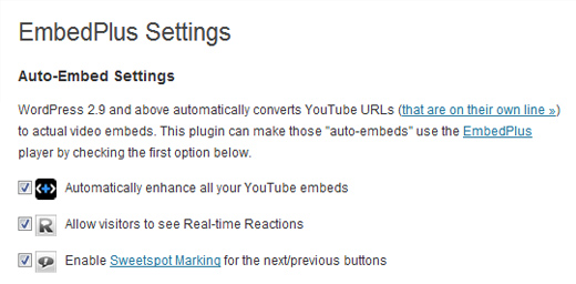 Preferences Under Settings for EmbedPlus