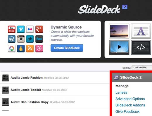 SlideDeck Manage Screen Small