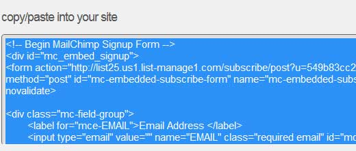 MailChimp Form Embed Code