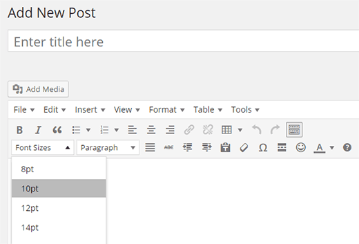 Font size button in WordPress post editor
