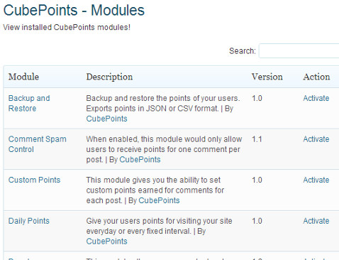 Activate CubePoints modules you need