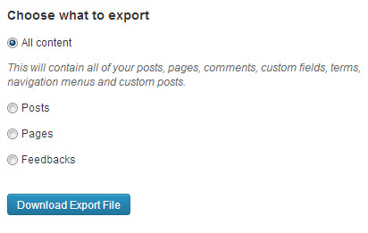 Exporting Data from WordPress.com in XML format
