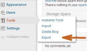 Export Tool in WordPress.com