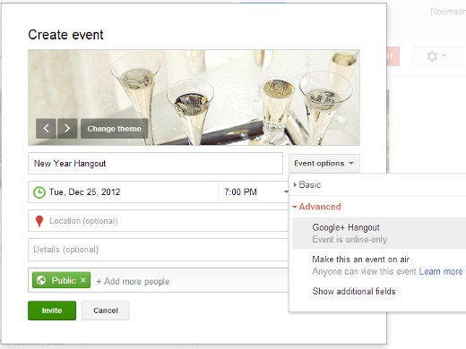 Creating a Google+ Hangout Event