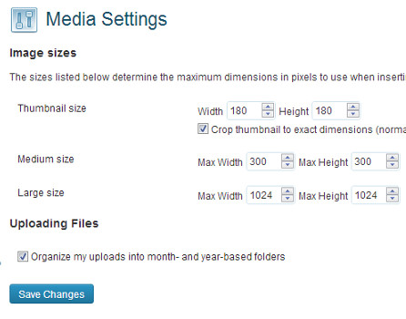 Media Settings in WordPress 3.5