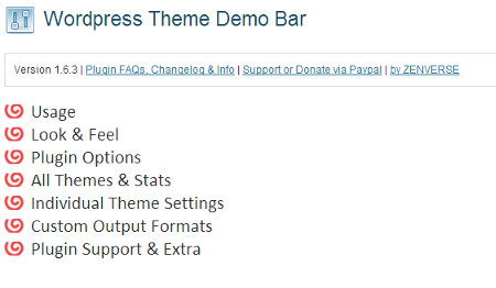 Theme Demo Bar WordPress plugin settings page