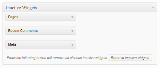 Removing inactive widgets in WordPress