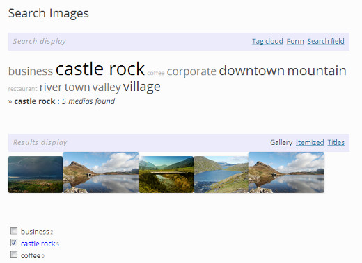 Image search page with tag cloud