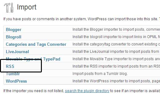 WordPress RSS Importer