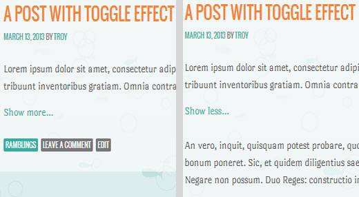 ShowHide toggle effect on text in WordPress posts