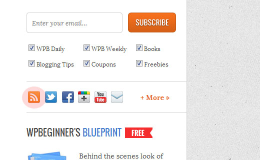 Display an RSS icon in your blog's sidebar