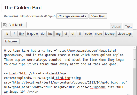 Wordpress post edit screen in text editor