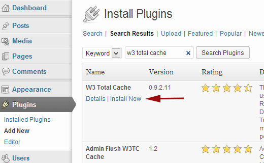 Installing W3 Total Cache plugin for WordPress