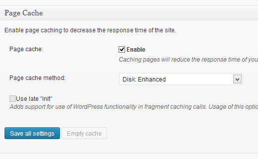 Setting up Page Cache in W3 Total Cache for WordPress