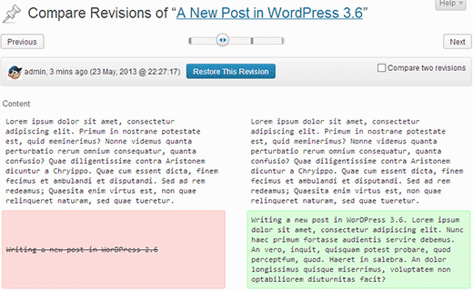 Improved post revisions in WordPress 3.6