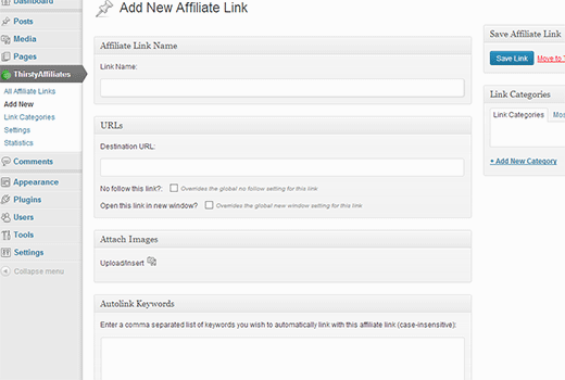 Adding a new affiliate link in WordPress using Thirsty Affiliates