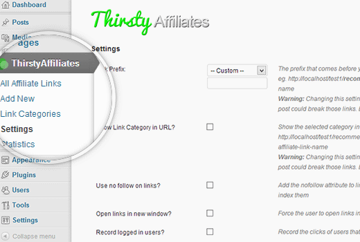 Thirsty Affiliates Settings