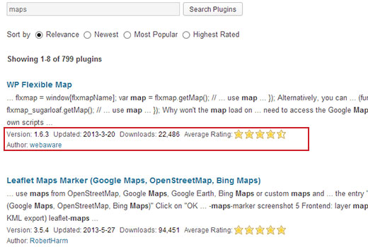 Search results in WordPress Plugin Directory