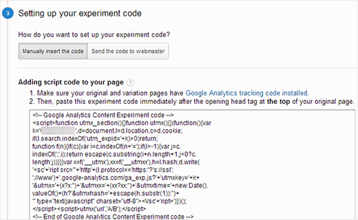 Copy the code for A/B Testing content experiment code from Google Analytics