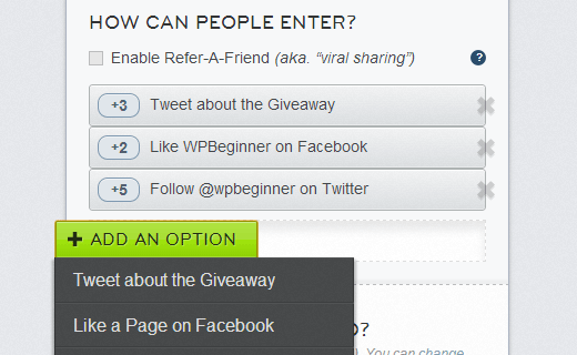 Choose how people can enter the giveaway