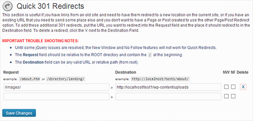 Setting up quick redirects without editing posts or pages