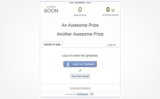 Rafflecopter giveaway widget in a WordPress page