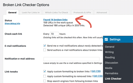 Broken links checker plugin settings page