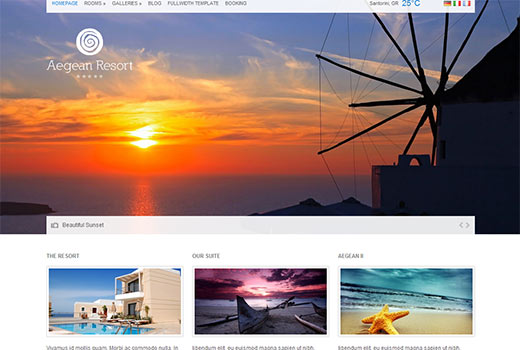 Aegean Resort and Hotel Theme for WordPress