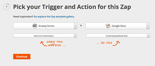 Choose Gravity Forms as Trigger and Google Docs as Action