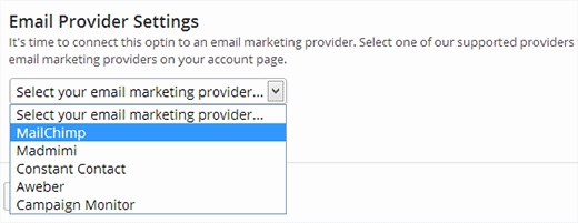 Choose your email provider