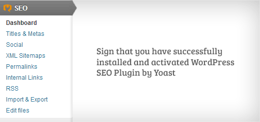 WordPress SEO menu after successful installation of the plugin