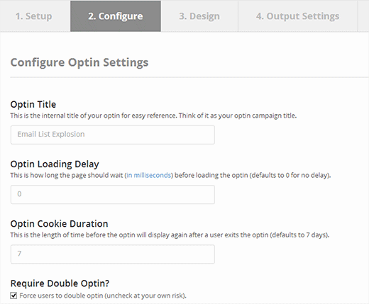 Configure your optin in OptinMonster builder