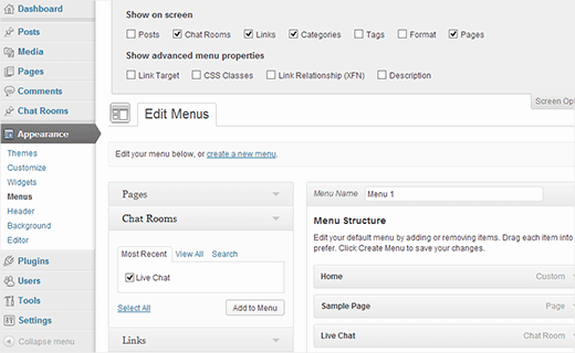 Add chat room to site's navigation menu
