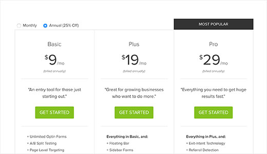 OptinMonster pricing page