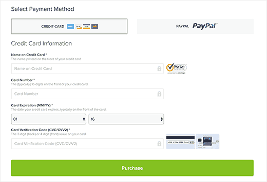 Select payment method and finish purchase