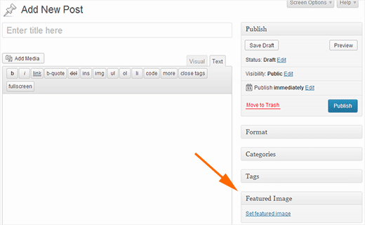 Setting featured image or Post Thumbnail in WordPress