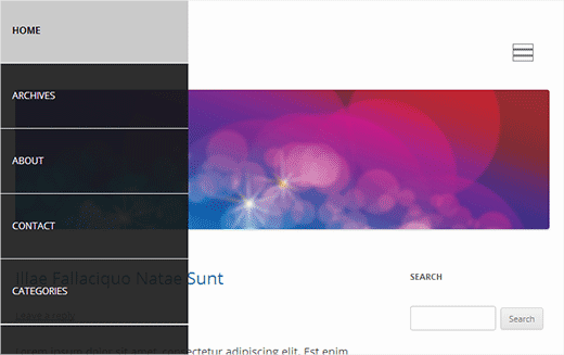 Slide Panel Menu in WordPress Default Theme