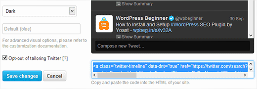 Copy your Twitter Widget Code