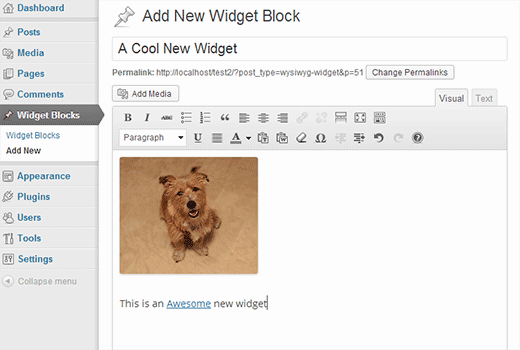 Creating a widget using visual editor in WordPress