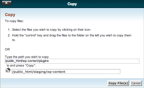 cPanel Copy Dialogue