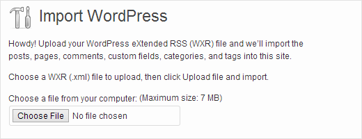 Upload your My Opera export file to import it into WordPress