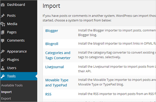 Installing Blogger Importer plugin in WordPress