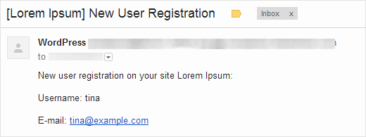New user notification email