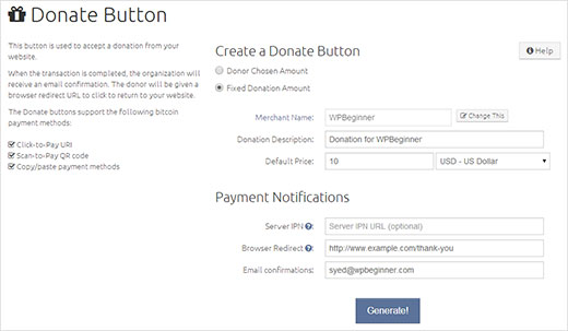 Generating a donate button on BitPay