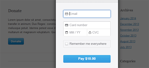Stripe donation popup integrated in WordPress