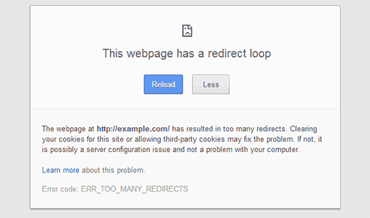 Error too many redirects as shown in Google Chrome