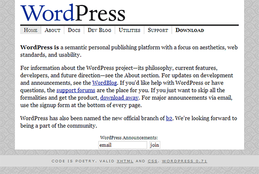 WordPress home page as it looked in May 2003