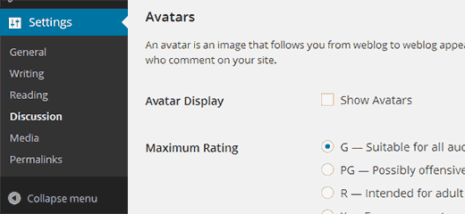 Uncheck Show Avatars to disable gravatar in WordPress
